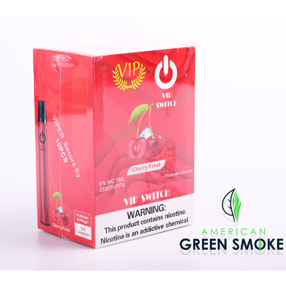 VIP SWITCH DISPOSABLE DEVICE 2500 PUFFS 6% NICOTINE (BOX OF 10 COUNT) (MSRP $14.99 EACH)