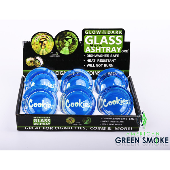 CKS BLUE - GLOW IN THE DARK ASHTRAYS (DISPLAY OF 6 COUNT) (MSRP $4.99 EACH)