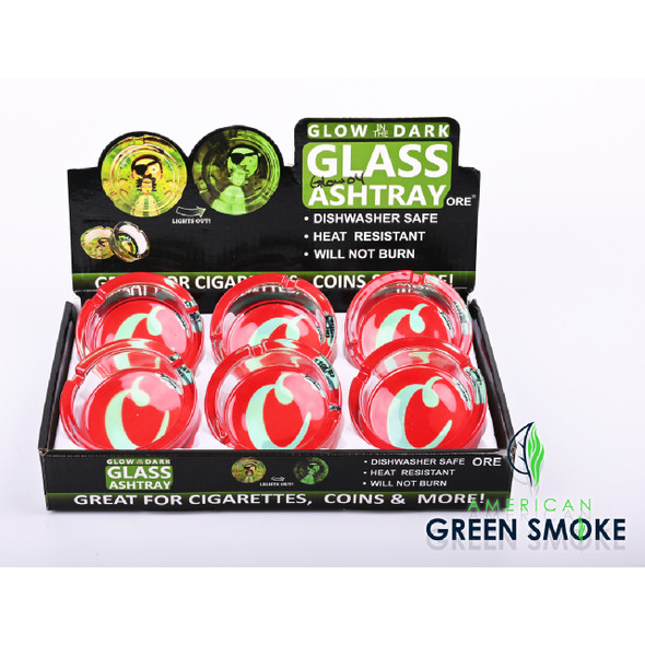 RED CKS WHITE C - GLOW IN THE DARK ASHTRAYS (DISPLAY OF 6 COUNT) (MSRP $4.99 EACH)