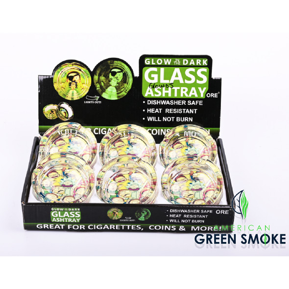R & M - GLOW IN THE DARK ASHTRAYS (DISPLAY OF 6 COUNT) (MSRP $4.99 EACH)