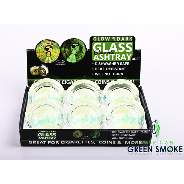 BLUE CKS - GLOW IN THE DARK ASHTRAYS (DISPLAY OF 6 COUNT) (MSRP $4.99 EACH)