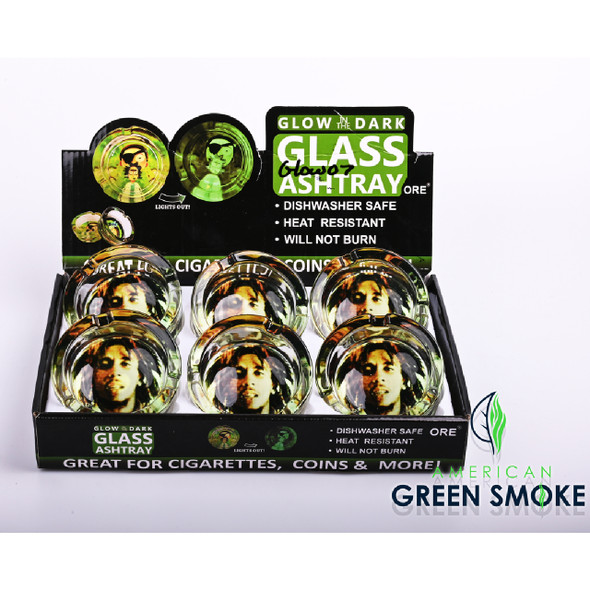 BOB MARLEY - GLOW IN THE DARK ASHTRAYS (DISPLAY OF 6 COUNT) (MSRP $4.99 EACH)
