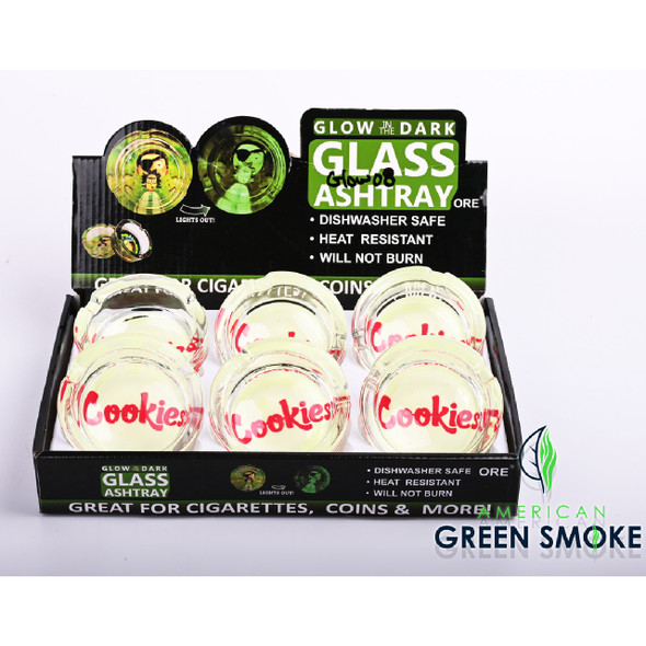 RED CKS - GLOW IN THE DARK ASHTRAYS (DISPLAY OF 6 COUNT) (MSRP $4.99 EACH)