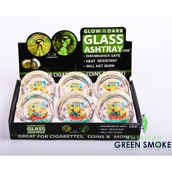 BCK SIM FAMILY - GLOW IN THE DARK ASHTRAYS (DISPLAY OF 6 COUNT) (MSRP $4.99 EACH)