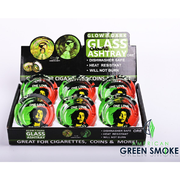 ONE LOVE BOB MARLEY - GLOW IN THE DARK ASHTRAYS (DISPLAY OF 6 COUNT) (MSRP $4.99 EACH)