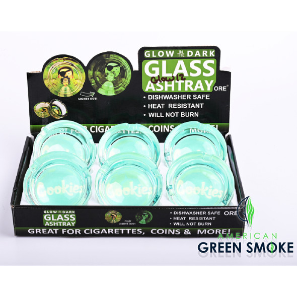 CKS TURQUOISE - GLOW IN THE DARK ASHTRAYS (DISPLAY OF 6 COUNT) (MSRP $4.99 EACH)