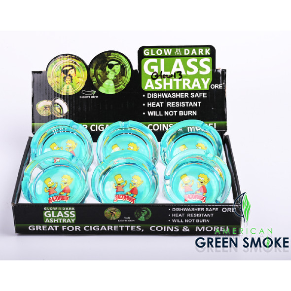 BCK BART & LISA - GLOW IN THE DARK ASHTRAYS (DISPLAY OF 6 COUNT) (MSRP $4.99 EACH)