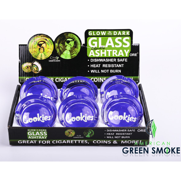 WHITE CKS PURPLE BACKROUND - GLOW IN THE DARK ASHTRAYS (DISPLAY OF 6 COUNT) (MSRP $4.99 EACH)