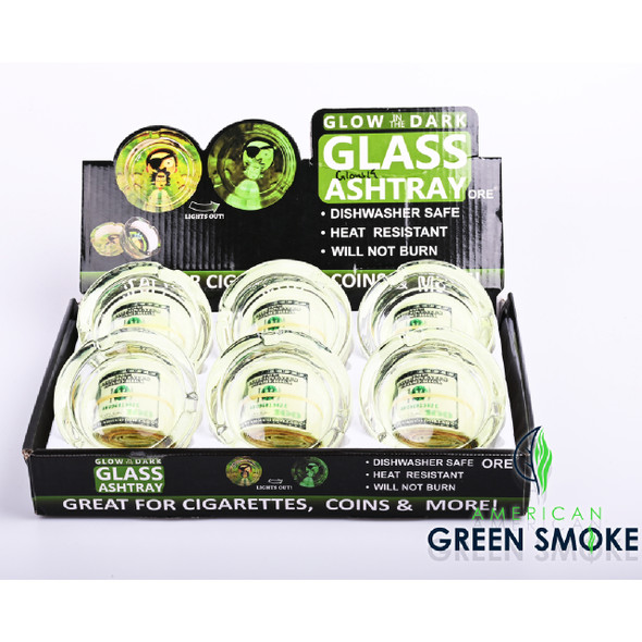 MONEY ROLL - GLOW IN THE DARK ASHTRAYS (DISPLAY OF 6 COUNT) (MSRP $4.99 EACH)