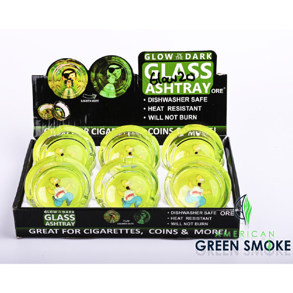 BW SCREAMIN HOMER - GLOW IN THE DARK ASHTRAY (DISPLAY OF 6 COUNT) (MSRP $4.99 EACH)