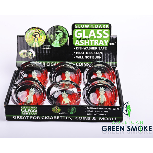 RK SITTING-GLOW IN THE DARK ASHTRAYS DISPLAY OF 6 COUNT (MSRP $4.99 EACH)