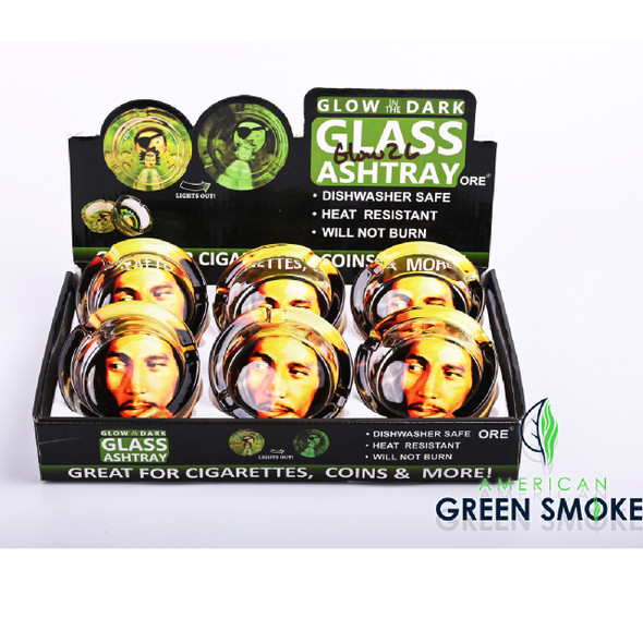 THINKING BOB MARLEY-GLOW IN THE DARK ASHTRAYS DISPLAY OF 6 COUNT (MSRP $4.99 EACH)