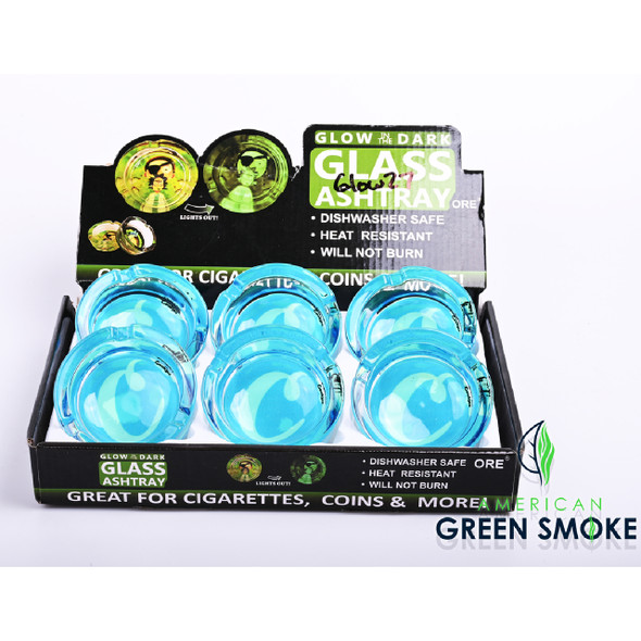 WHITE C BIG BLUE CKS-GLOW IN THE DARK ASHTRAYS DISPLAY OF 6 COUNT (MSRP $4.99 EACH)