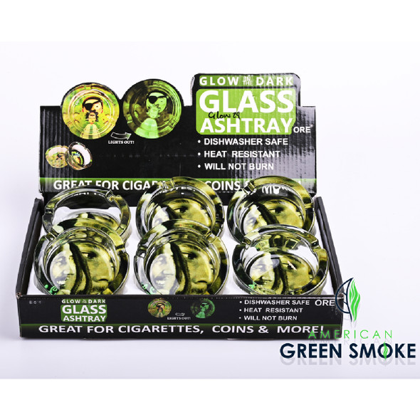 DOUBLE BOB MARLEY-GLOW IN THE DARK ASHTRAYS DISPLAY OF 6 COUNT (MSRP $4.99 EACH)