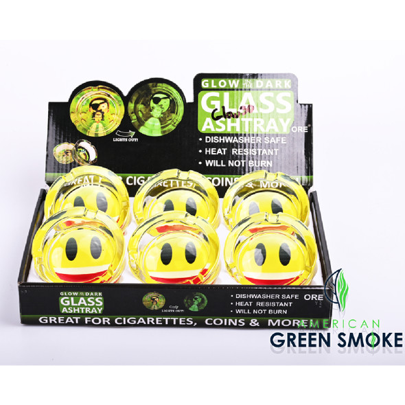 SMILEY FACE-GLOW IN THE DARK ASHTRAYS DISPLAY OF 6 COUNT (MSRP $4.99 EACH)