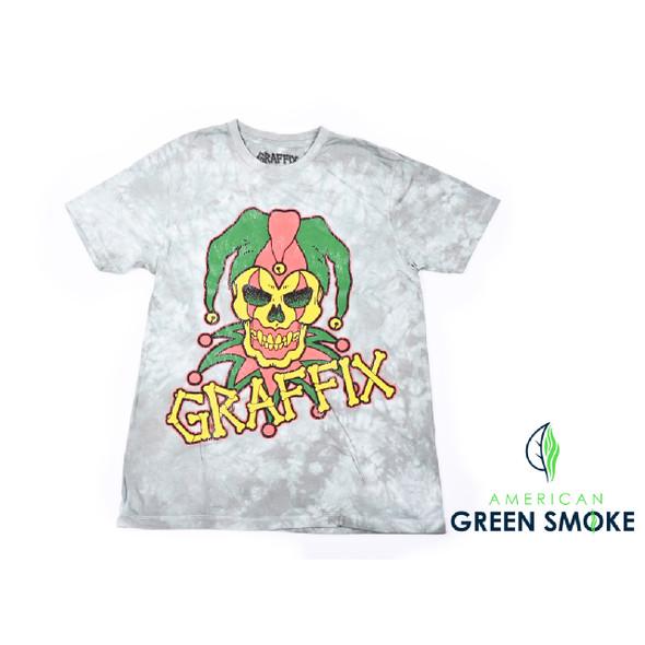"""T-SHIRT ADULT """"RASTA GRAFFIX LOGO DISTRESSES DYE""""  GREEN (MSRP $25.99 EACH)"""