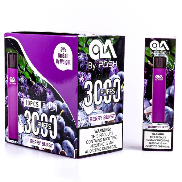 OLA BY POSH DISPOSABLE 8.5ML 5.0% NIC 3000 PUFFS BOX OF 10 COUNT (MSRP $19.99 EACH)