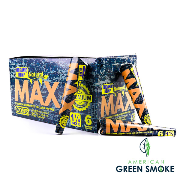 NATURAL ORGANIC HEMP MAX 1 1/4 CONES BOX OF 32 COUNT (MSRP $2.99 EACH)