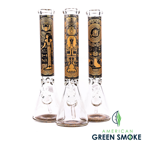 GLASS 16 HIEROGLYPHIC WATER PIPES (MSRP $89.99 EACH)