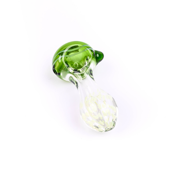 GLASS 4 INCH INSIDE SLYME DOT WITH GREEN HEAD HEAVY PIPE (MSRP $14.99 EACH)