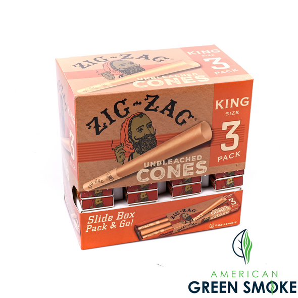 ZIG ZAG UNBLEACHED PAPER CONE KING SIZE 36 PACK DISPLAY (MSRP $2.99 EACH)