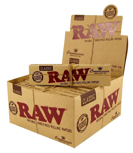 RAW - CLASSIC CONNOISSEUR KINGSIZE SLIM ROLLING PAPER + TIPS (MSRP $2.99 EACH )