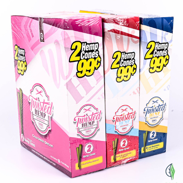 TWISTED HEMP FLAVOURED PRE-ROLLED CONES  BOX OF 10 POUCHES (MSRP $2.99 EACH)