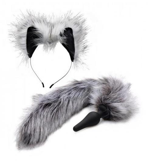 Fox Tail Anal Plug and Ears Set - Gray
