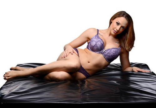 PVC Rubber Fitted king size sex sheet - Black