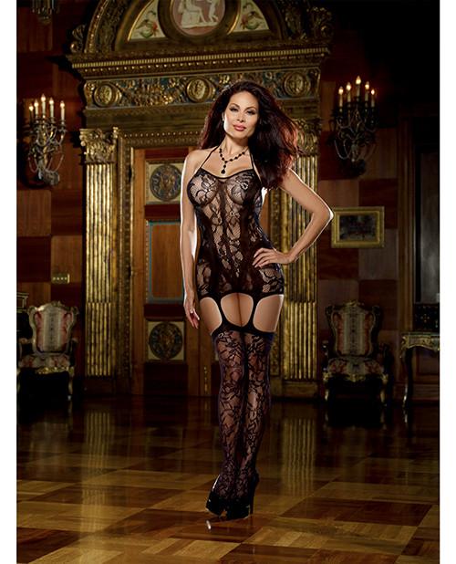 Lace Fishnet Halter Garter Dress w/Opaque Bodice Lines, Halter Ties & Attchd Stkngs Blk -QN