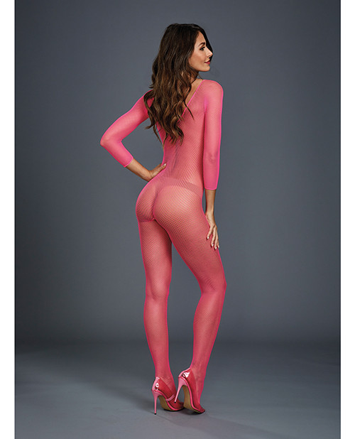 Fishnet Long Sleeved Open Crotch Bodystocking Neon Pink O/S