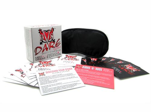 DV8 Dare Meet & Mingle Erotic Card Game - Swingers Party Edition This game immerses the pleasure seekers in a progressively interactive journey from a social icebreaker Meet & Mingle, to sexy After Party foreplay and playtime.  Meet & Mingle Swinger Party Edition -- where the game is the party