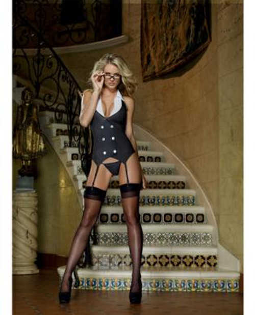 Working late pinstripe knit vest garter, thong and plastic glasses OS
