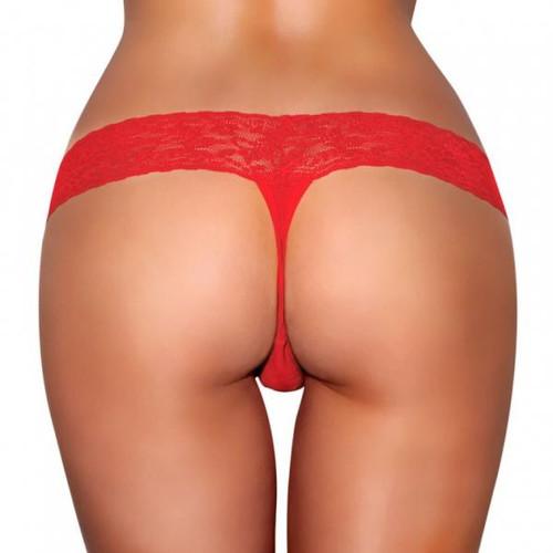 Hustler Vibrating Panties with Hidden Vibe Pocket - Red M/L