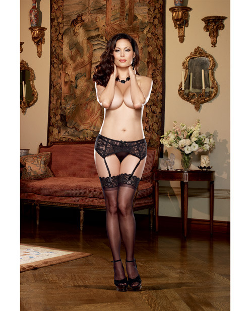 Dreamgirl Stretch lace garter belt w/scalloped hem - Black - QN