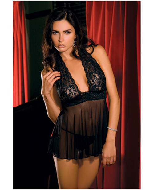 Lace and Mesh Babydoll - Black - M