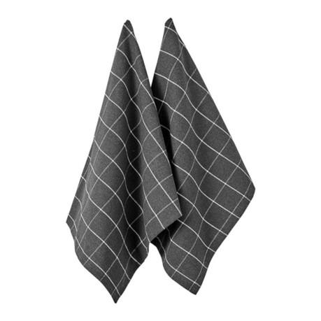Ladelle Eco Check Cotton Tea Towels Charcoal, 2 Pack Cooks Boutique