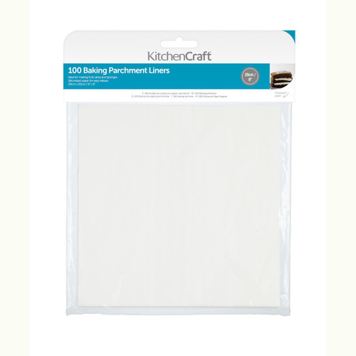 KitchenCraft Square Siliconised parchment liners 100pc 8inch