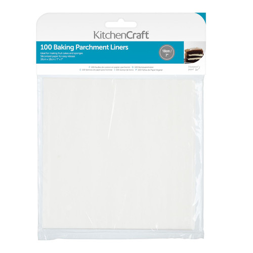 KitchenCraft Square Siliconised parchment liners 100pc 7inch