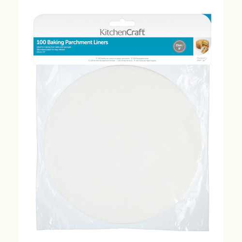 KitchenCraft Round Siliconised parchment liners 100pc 9inch