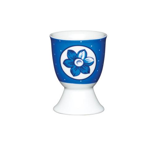 KitchenCraft Blue spotty flower egg cup