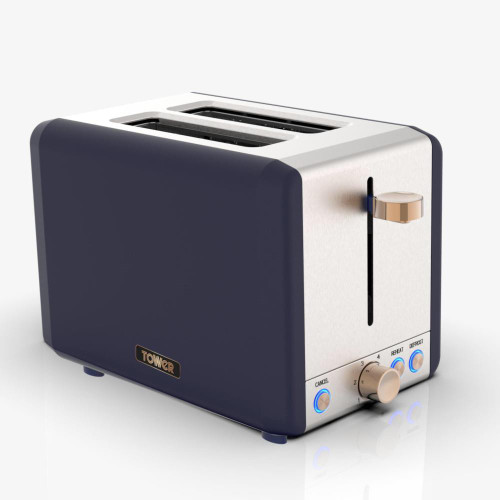 Tower Cavaletto Midnight Blue & Rose Gold 2 Slice Toaster