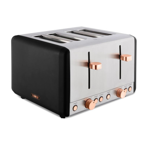 Tower Cavaletto Black & Rose Gold 4 Slice Toaster