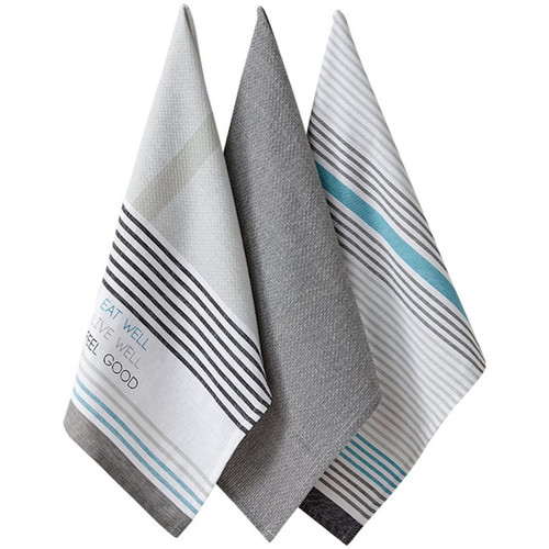 Ladelle Cotton Eat Well Kitchen Tea Towels 3 pk