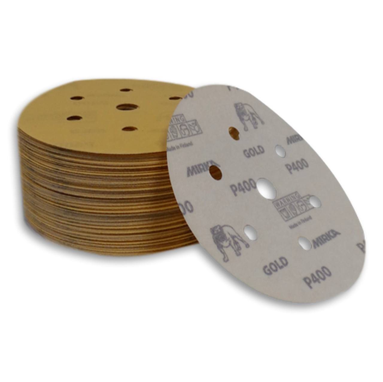 P400 Gold Velcro Sanding Discs 100 in a Box 150mm 7 Holes Mirka Sanding Discs