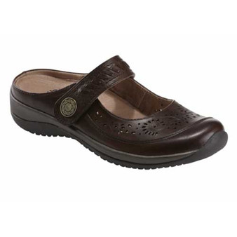 KARA HOPPER WIDE slip-on is extremely comfortable with an adjustable strap for the perfect fit. Available in Bark.