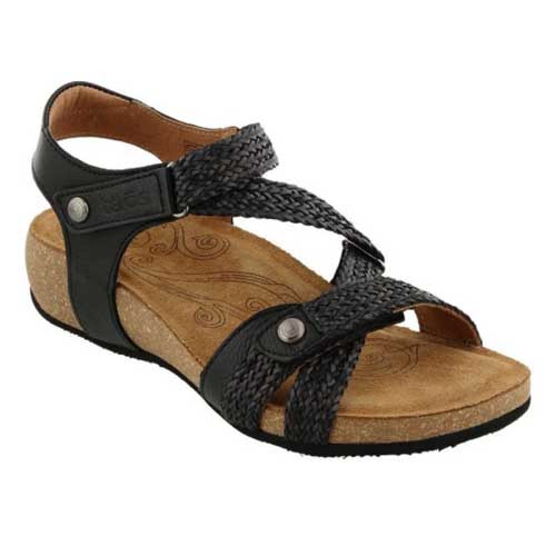 Lightweight leather sandal made in Spain.  Man made woven hook and loop straps provide a custom feeling fit.  These are the best comfortable sandals for women. Available in Black and Nude.