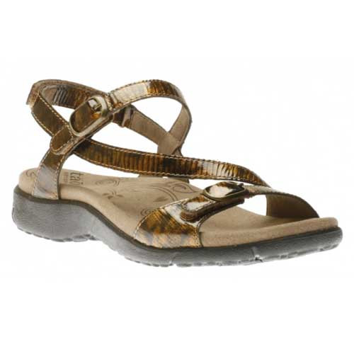 Beauty sandals feature a leather upper in a strappy silhouette for a stylish look.  An adjustable hook-and-loop strap with Velcro closure at the back and two straps with buckle closure at the instep and forefoot ensure a secure custom fit.  A soft microfiber lining provides breathable comfort.  Available in Tortoise Shell