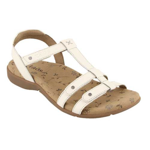 Beautiful, strappy leather sandal with fully adjustable straps to help accommodate different widths as well as insteps.  The arch and metatarsal support gives you comfort while alleviating pressure from the ball of the foot.  Available in Pewter and White
