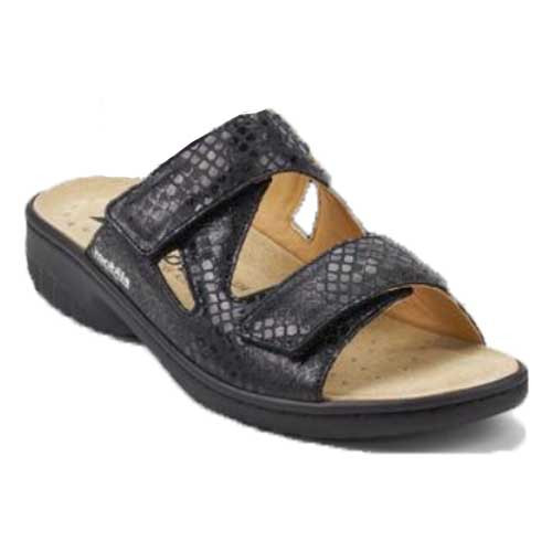 Geva sandal is super light weight with maximum comfort.  Geva is a winner for that hard to fit foot. Available in Black and Dark Taupe